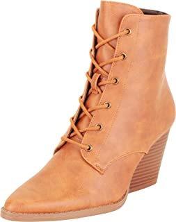 Cambridge Select Women's Pointed Toe Lace-Up Chunky Stacked Block Heel Ankle Bootie