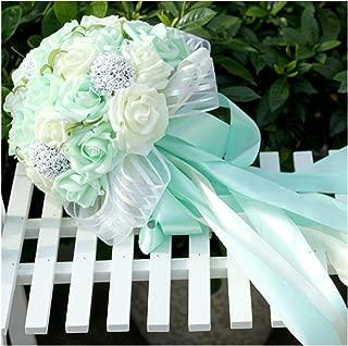 N.L.B Handmade Satin Roses White Bridesmaid Bouquet Crystal Brooch Bridal Wedding Bouquet Decor Mint Artificial Flowers (Mint)