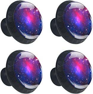 EGGDIOQ Space Stars Nebula Galaxy Drawer Knobs Pull Handles 30MM 4 Pcs Glass Cabinet Drawer Pulls for Home Kitchen Cupboard