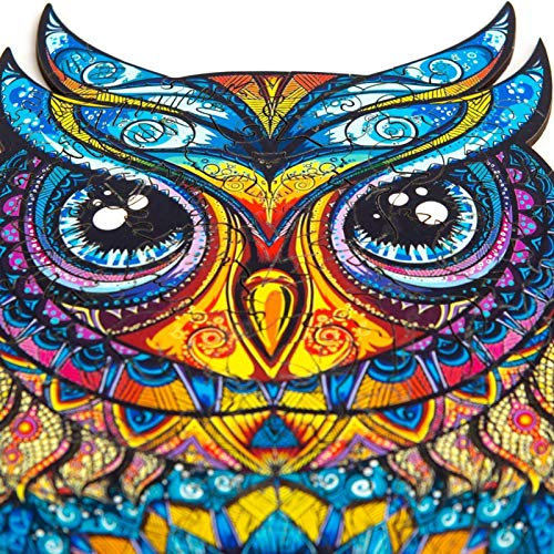 Wooden Puzzles Jigsaw, Education Toy Gift for Adults and Kids, Unique Shape Jigsaw Pieces Charming Owl Puzzle Toys, Home Parent-Child Jigsaw Game, 9.06X5.91in, 101 Pieces