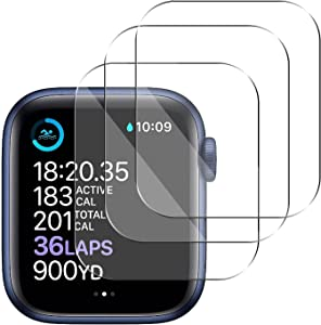 [3 Pack] Tempered Glass Screen Protector Compatible with Apple Watch Series 6 SE Series 5 Series 4 40mm, 3D Full Coverage Anti-Scratch Shatter-Proof HD Clear Waterproof Screen Protector Film