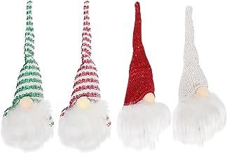 ABOOFAN Christmas Light Up Gnomes 4 Pcs Plush Sueco Nordic Tomte Scandinavian Elf Luminous Xmas Tree Pendurado Ornamento p...
