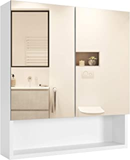 Homfa Bathroom Wall Mirror Cabinet with Double Doors and Adjustable Shelf, 20.8 X 22.8 Inch Medicine Cabinet Multipurpose Storage Organizer Kitchen Cupboard, Wooden, White