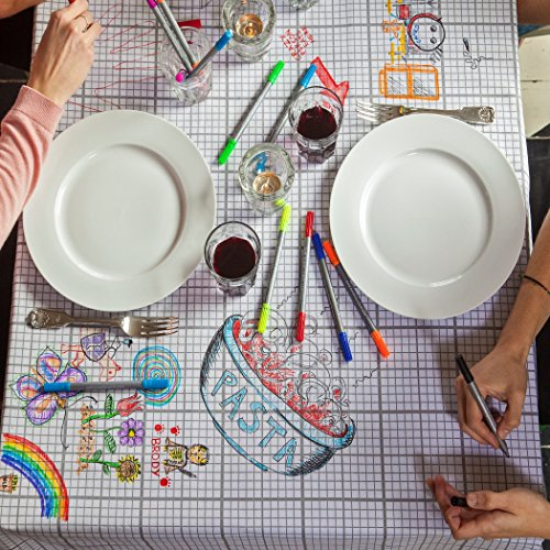 eatsleepdoodle Doodle Tablecloth, Design, Personalize & Color Your Own Table Cloth, Coloring Tablecloth with Washable Fabric Markers (Medium 71in x 59 in)