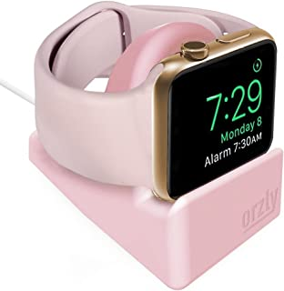 Orzly Compact Stand Designed for Apple Watch - Nightstand Mode Compatible - Integrated Cable Management Slot (for Series 4 Series 3 Series 2 Series 1-38mm 42mm 40mm 44mm) - Pink