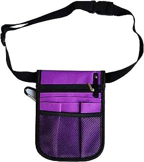 Nurse Pocket Pouch Quick Pick Portable Waist Purse Bag Nurse Tool Bag 2 Sided - 8 Pocket Long Adjustable Belt (Purple)