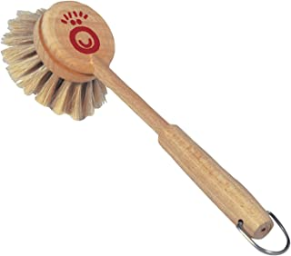 REDECKER Horsehair Children's Dish Brush with Untreated Beechwood Handle, 8 inches, Ergonomic Design for Small Hands, Resilient Natural Bristles, Hanging Loop for Storage, Made in Germany