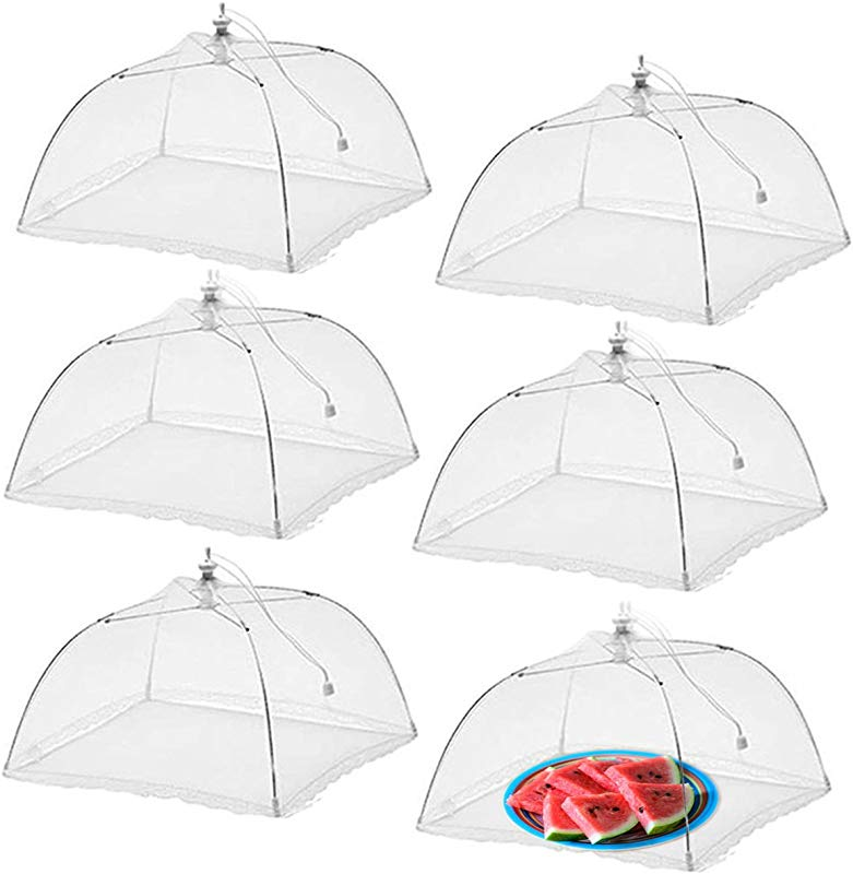 Simply Genius 6 Pack Large And Tall 17x17 Pop Up Mesh Food Covers Tent Umbrella For Outdoors Screen Tents Parties Picnics BBQs Reusable And Collapsible