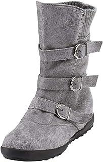Botines Mujer Ante Cuero Zapatos de Plataforma Cremallera Lateral Hebilla Botas De Nieve Caliente Cómodas de Tacón Plano O...