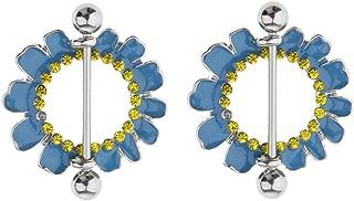 2pcs Round Flower 4 Styles Nipple Shield Ring Body Stainless Steel Bars 14g 16g (Pattern Gauge - Daisy Flower Blue 16g)