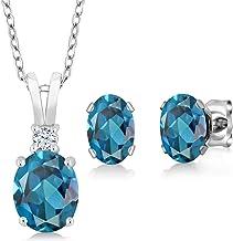 Gem Stone King London Blue Topaz 925 Sterling Silver Gemstone Birthstone Pendant Earrings Set 3.15 Cttw Oval with 18 Inch ...