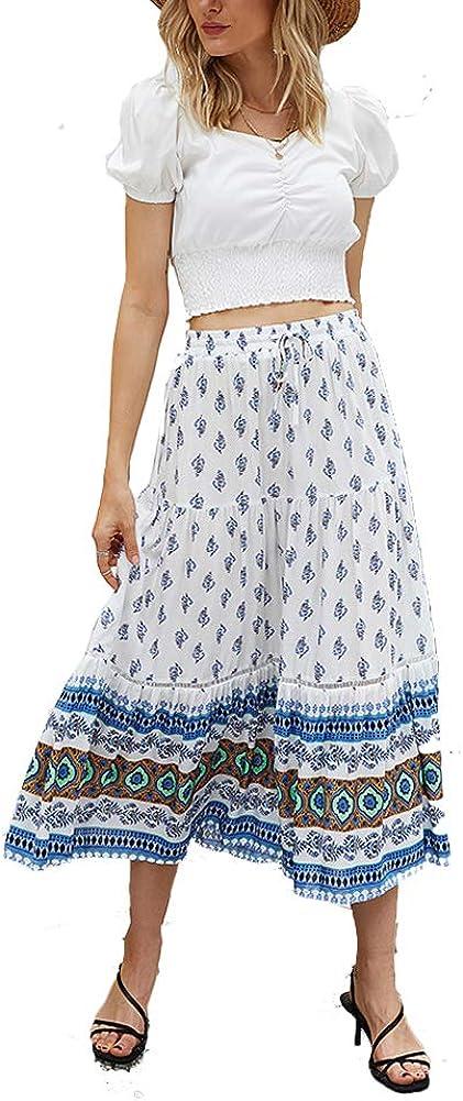 Yeshire Women's Boho Floral Print Elastic High Waist Pleated A Line Midi Skirt with Pockets