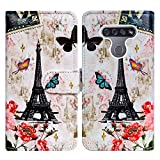 LG K51 Case,LG Reflect (LM-K500) Case,Bcov Paris Tower Butterfly Leather Flip Case Wallet Cover with Card Slot Holder Kickstand for LG K51/LG Q51