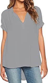598eadcbc ISSHE Blusas de Vestir Manga Corta Cuello en V Blusa Gasa Fiesta Camisas  Mujer Camisetas Largas