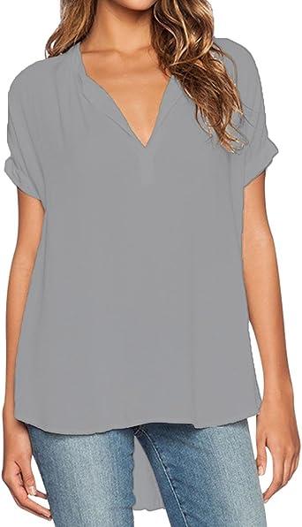 Blusas de Vestir Manga Corta Cuello en V Blusa Gasa Fiesta Camisas Mujer Camisetas Largas Elegantes Dama Bonitas Blusas Top para Señoras Blusones ...