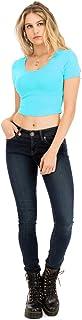 NANAVA Women's Basic Solid Scoop Neck Short Sleeve Junior Fit Crop-Top
