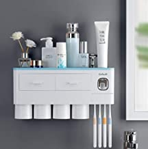 LIRANK Toothbrush Holder Multifunctional Wall Mount Electric Toothbrushes Space Saving Toothpaste Squeezer kit with dust C...
