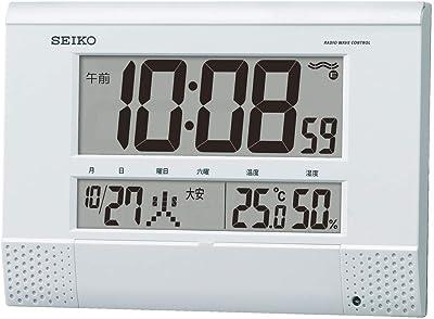 セイコークロック 白パール 本体サイズ18.6×26.4×3.9cm 掛け時計 置き時計 兼用 電波 デジタル プログラム機能 BC412W