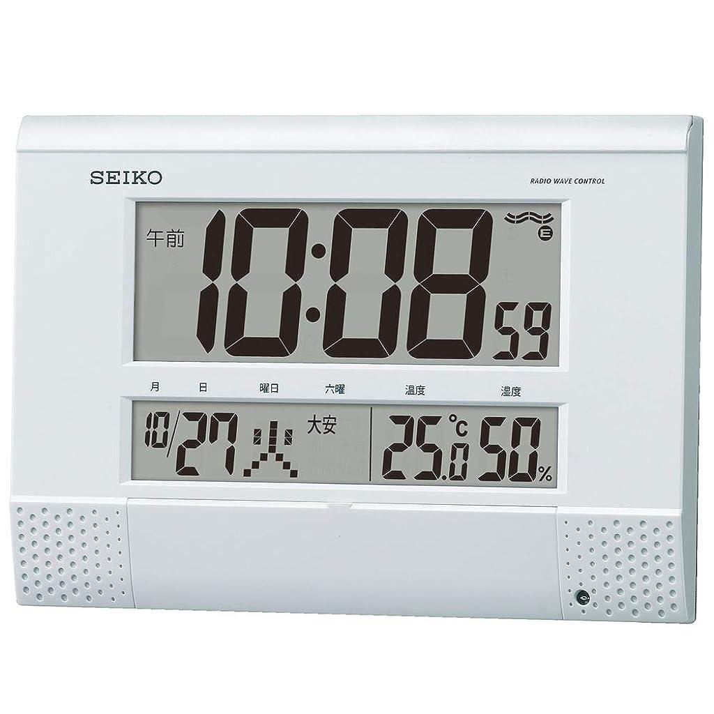 避ける輝く先生セイコークロック 白パール 本体サイズ18.6×26.4×3.9cm 掛け時計 置き時計 兼用 電波 デジタル プログラム機能 BC412W