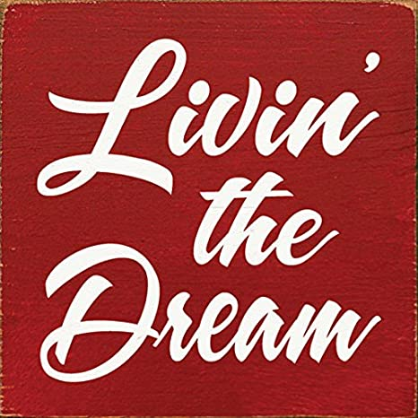 Plaque Cherish Dream Live Red Cream Gingham Wooden Wall Sign 22cm F0610B