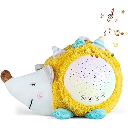Bambino bianca Macchina del rumore,Succhietti per dormire e aiuti per dormire.Luce notturna per ausilio al sonno per bambini, 10 ninne nanne e proiettore (Riccio)