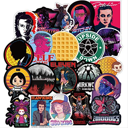 JUNZE Stranger Things Stickers Anime For Children On The Laptop Fridge Phone Skateboard Suitcase Funny Cool Sticker100Pcs