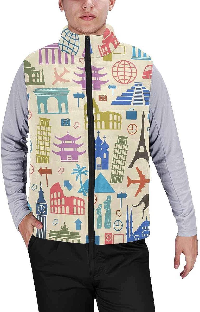 InterestPrint Men's Lightweight Keep Warm Puffer Vest for Outdoor Landmarks Pattern M