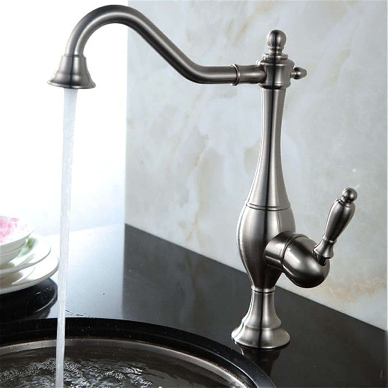 Gyps Faucet Waschtisch-Einhebelmischer Waschtischarmatur BadarmaturDas Moderne Kupfer Gebürstet Kaltes Wasser zu Speisen Whirlpool Küche Wasserhahn Waschen,Mischbatterie Waschbecken