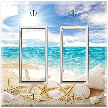 Wall Plates Graphics Wallplates Double Rocker Gfci Wall Plate Cover Seashells Ocean White Sand Beach Tools Home Improvement