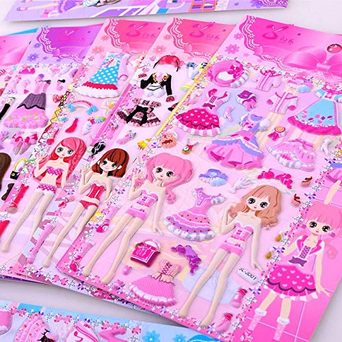 Beauty Princess Dress Up Stickers for Baby Girls 3D Dressup Sticker Toys Children Kids Birthday Party Gifts Educational Funny