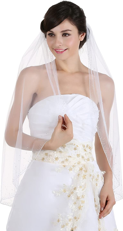 SAMKY 1T 1 Tier Wide Crystal Beaded Edge Bridal Wedding Veil