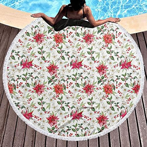 Tassel Fringe Round Beach Towel Beach Yoga Mat,Fresh Poinsettia Flowers And Rowan Berry Branches Christmas Garden,Tapestry Tablecloth Picnic Blanket Shawl