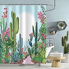 Bonhause Cortina de Ducha Cactus Verde Planta Tropical con Flor Rosa Cortina de Baño de Poliéster Impermeable Antimoho Cortina Ducha con 12 Ganchos 180 x 180 cm