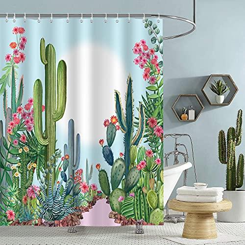 Bonhause Duschvorhang 180 x 180 cm Kaktus Tropische Pflanze mit Pinke Blume Duschvorhänge Anti-Schimmel Wasserdicht Polyester Stoff Waschbar Bad Vorhang für Badzimmer mit 12 Duschvorhangringen