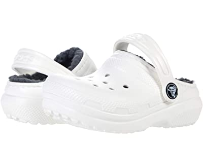 Crocs Kids Classic Lined Clog (Toddler/Little Kid/Big Kid) (White/Grey) Kids Shoes