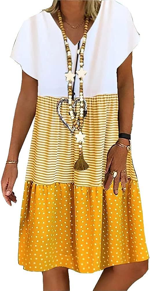 Women's Summer Casual Beach V Neck Dresses A-line Stripe Short Sleeve Floral Midi Dress