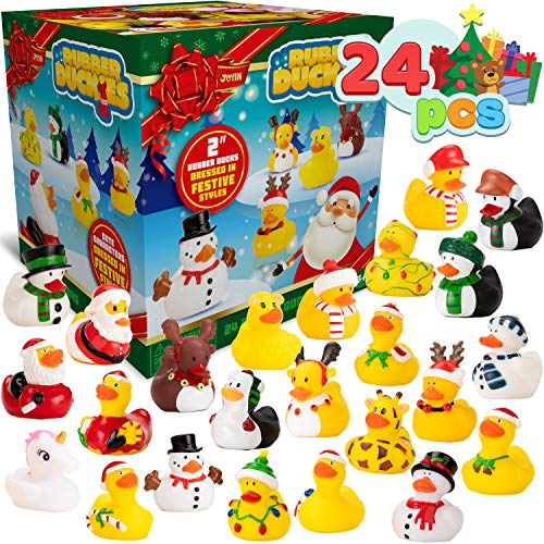 JOYIN 24 Pcs Christmas Rubber Ducks for Boys, Girls, Kids and Toddlers, Christmas Party Favor Gifts