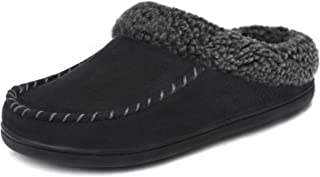 ULTRAIDEAS Men's Moccasin Suede Slippers with Cozy Memory Foam & Fuzzy Plush Lining , Slip on Clog House Shoes with Indoor...