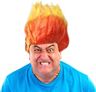 Costume Adventure Two Toned Flame Wig Orange and Yellow Flame Wig