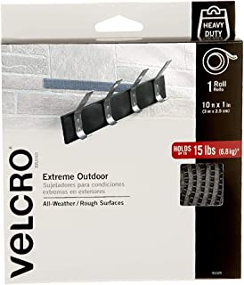 VELCRO Brand Industrial Strength Fasteners | Extreme Outdoor Weather Conditions | Professional Grade Heavy Duty Strength Holds up to 15 lbs on Rough Surfaces | 10 ft x 1 inch Tape, Titanium