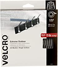 VELCRO Brand Industrial Strength Fasteners   Extreme Outdoor Weather Conditions   Professional Grade Heavy Duty Strength Holds up to 15 lbs on Rough Surfaces   10 ft x 1 inch Tape, Titanium