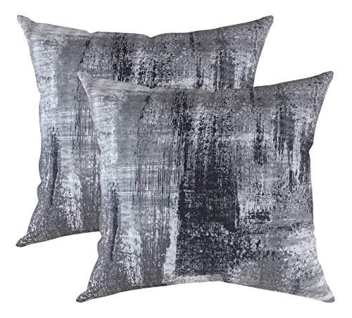 TreeWool - Pack de 2 - Cepillo Arte Acento Decorativo Fundas de cojín, 100% algodón (50 x 50 cm / 20 x 20 Inches, Negro)