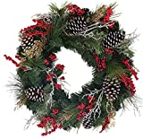 The Wreath Depot Somerset Winter Red Berry Wreath 22 Inch, Full Artificial Winter Wreath Design, Beautiful White Gift Box