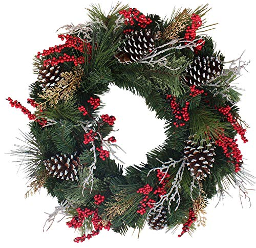 Red Berry Twigs and Pine Cones Festive Wreath for Front Door