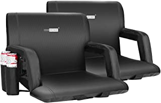 VIVOHOME 24.5 Inch Extra Wide Reclining Stadium Seat Chairs with Backrest and Armrests, Portable Cushions for Bleachers, P...