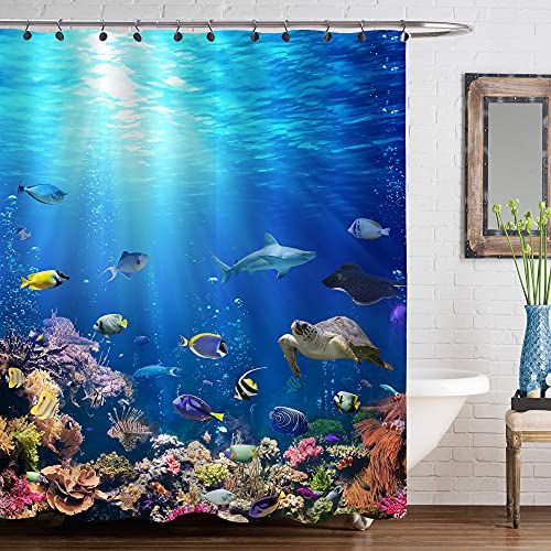 """MitoVilla 3D Ocean Fish Shower Curtain Set with Hooks, Nature Scenic of Tropical Fish, Turtle, Shark in the Sea Bathroom Decor for Ocean Themed Home, Gifts for Women, Men and Kids, Blue, 72"""" W x 72"""" L"""