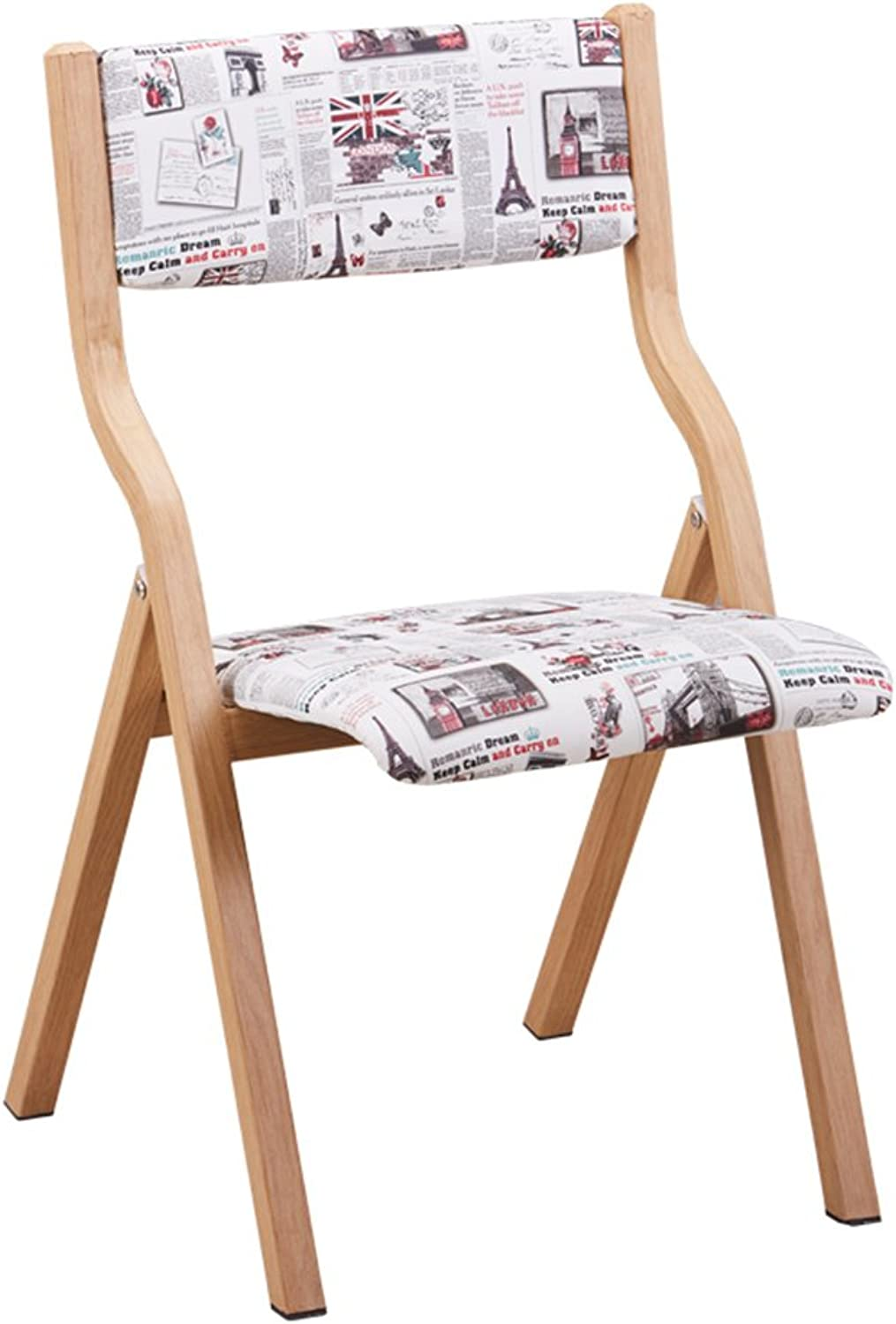 MAZHONG Barstools Imitation Wood Folding Chair Family Table Folding Chair Simple Modern Chair Modern Chair (color   D)