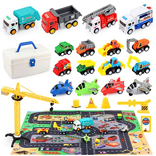 HONYAT Construction Truck Vehicles Car Toy Set with Play Mat and Car Storage Box Engineering Truck Set with Tower Crane and Accessories Gifts for Boys Girls Toddlers Ages 310