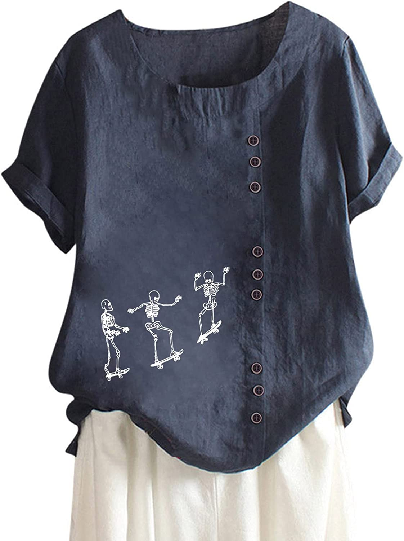 Linen Shirt for Women Short Sleeve Tshirt Skull Skateboard Graphic Tops Funny Summer Casual Blouse