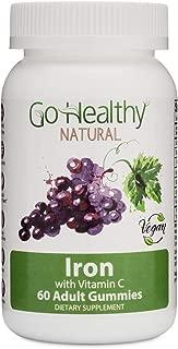 Go Healthy Natural Iron Gummies with Vitamin C, B12, Folic Acid, Vegan, OU Kosher, Halal (60ct) 30 Servings